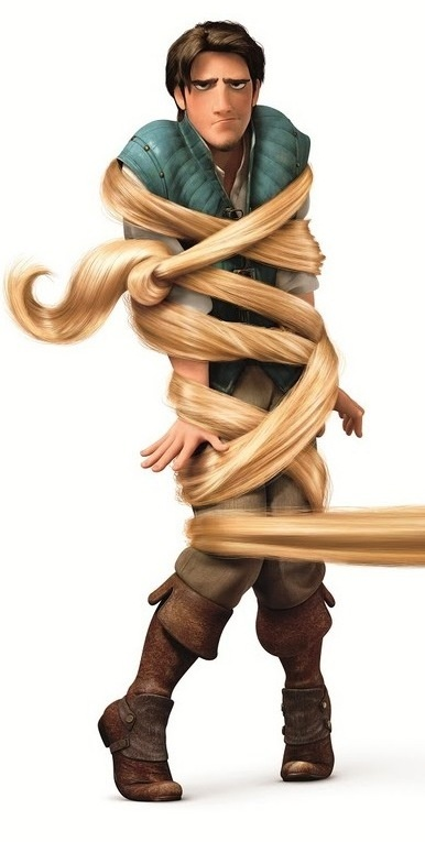 Flynn Rider.  :) Rapunzel: Wait... you don't want my hair? Flynn: No the only thing I want with your hair is to get out of it.... Literaly!