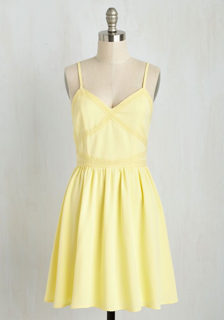More Than Sweets the Eye Dress - Yellow, Solid, Casual, Sundress, Pastel, A-line, Sleeveless, Spring, Woven, Good, Mid-length #fashiondresses#dresses#borntowear