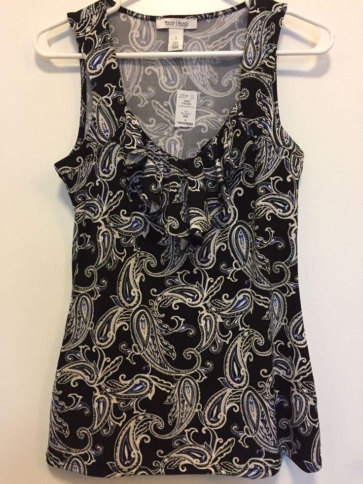 White House Black Market Women's Small Top Blouse Paisley Sleeveless Black  NWT