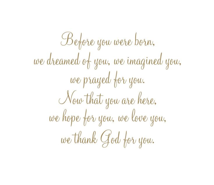 "Before You Were Born We Dreamed of You, Imagined You, Prayed for You Vinyl Wall Decal Quote Saying Poem for Boy Girl Baby Nursery 22""H x27""W. $45.00, via Etsy."