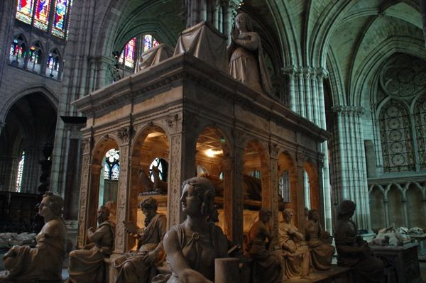 The Basilica of Saint Denis. This amazing tomb is probably one of the most splendid and impressive ever created and it is a miracle that it survived the violence of the revolutionary era, when the royal tombs at the Basilica of St Denis were desecrated and destroyed and their contents thrown into a common grave.