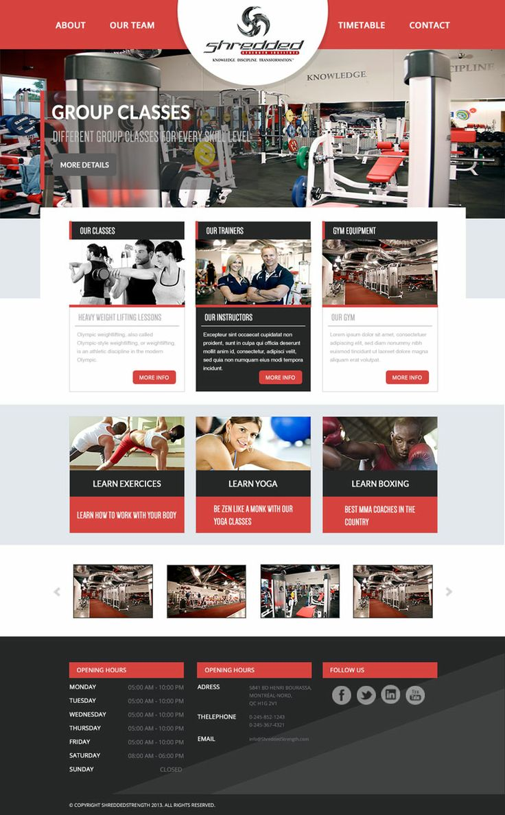 Fitness HomePage Design