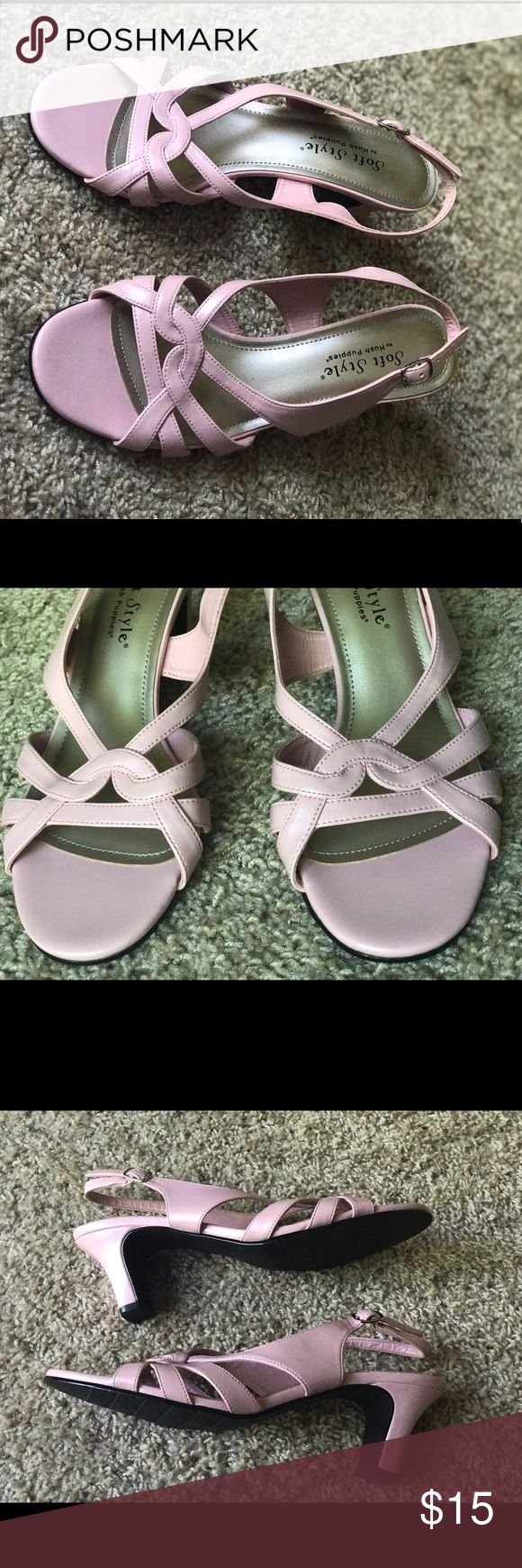 Cute Hush Puppies Soft Style Sandals They are really cute and comfortable sandals. Too bad I gained significant weight. I used this just to wedding (2-3 times). The heels are 2.5 inches, as you can see from the picts. They have some defect on the heels Hush Puppies Shoes Sandals