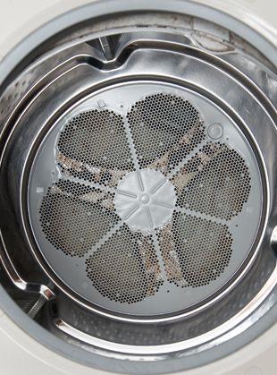 洗濯槽掃除前のドラム式洗濯機内部の様子