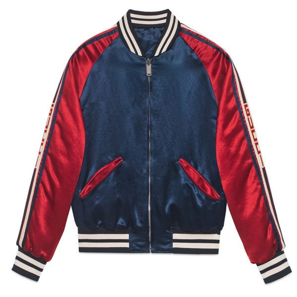 Gucci Gucci Stripe Reversible Acetate Bomber ($2,560) ❤ liked on Polyvore featuring men's fashion, men's clothing, men's outerwear, men's jackets, outerwear, leather & casual jackets, men, ready-to-wear and gucci mens clothing