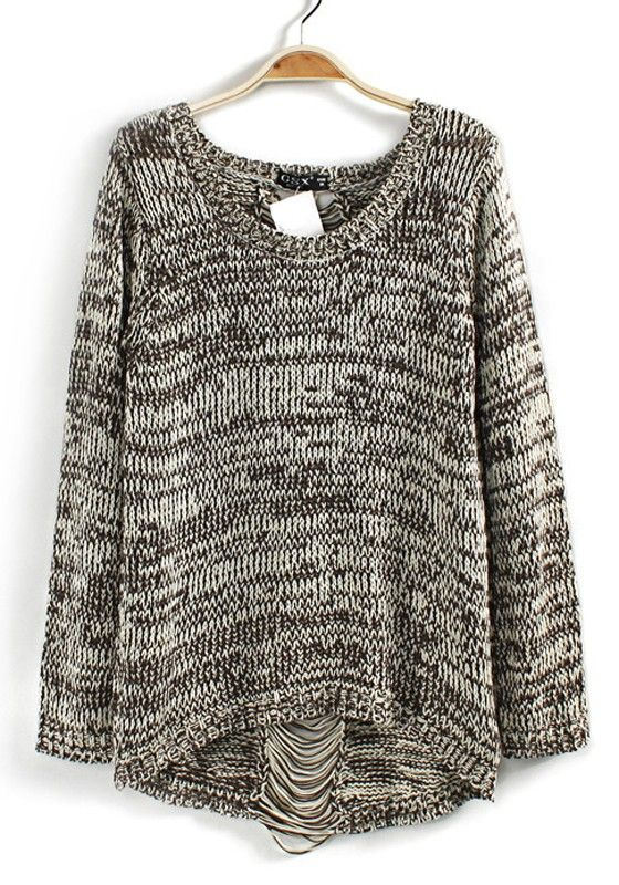 Multicolor Back Hollow-out Round Neck Wool Blend Pullover