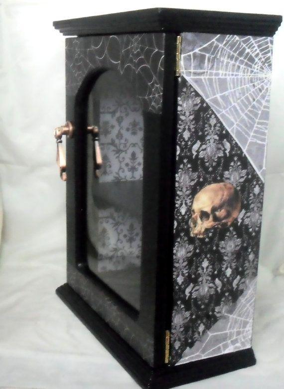 Gothic Display Cabinet - Gothic Home Decor - Skull Decor