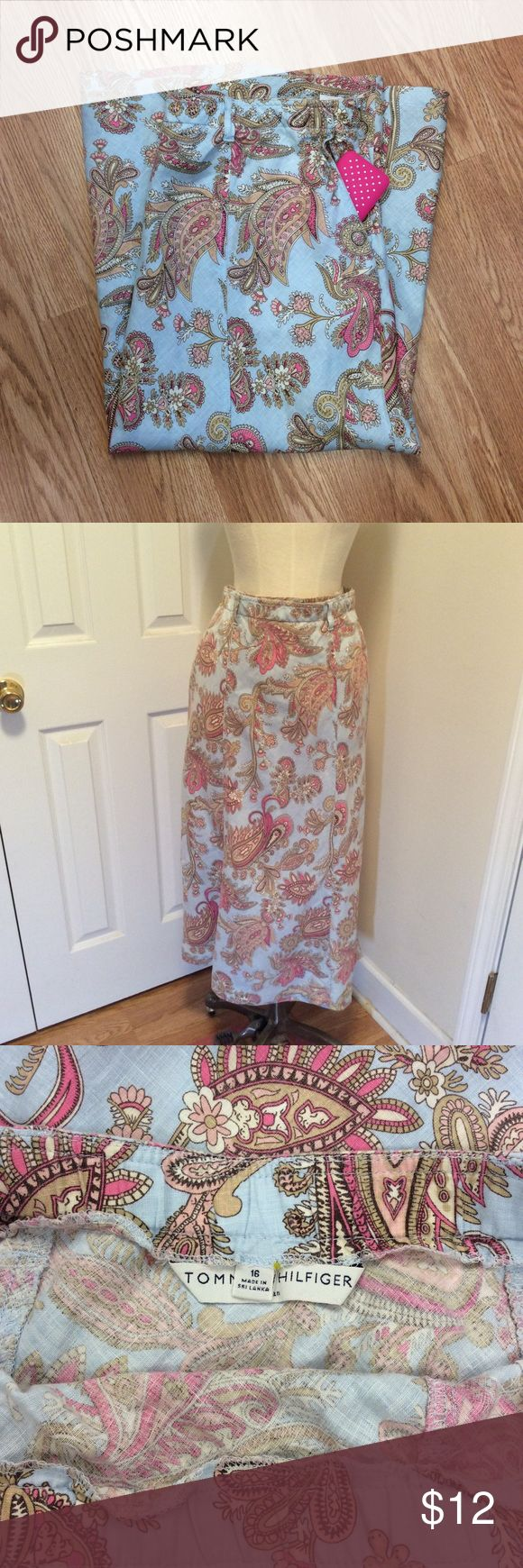 🎉🎉HP🎉🎉Tommy Hilfiger blue & pink skirt size 16 Tommy Hilfiger blue and pink skirt, size 16.  Has side zipper, 2 side pockets and belt loops. Skirt is 34 3/4 inches long.  Questions???  Please ask. Tommy Hilfiger Skirts Maxi