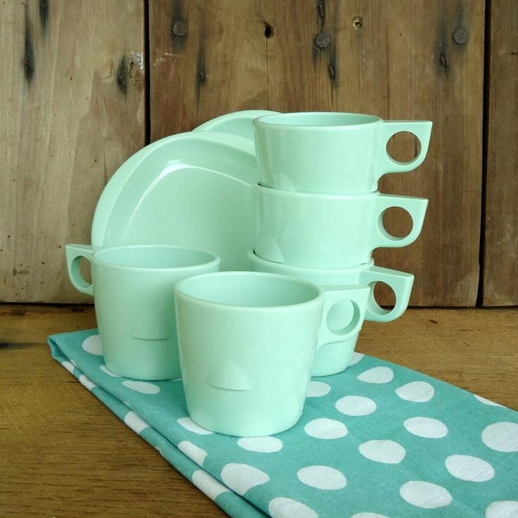 Vintage Green Melmac Dishes Set Cups Mugs Saucers Set Mint Green Melamine Plastic Dallas Ware Boonton Ware