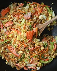 Salmon Fried Rice with Carrots and Cabbage Recipe on Food & Wine