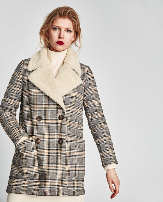 Image 2 of CONTRASTING TEXTURE CHECKED COAT from Zara
