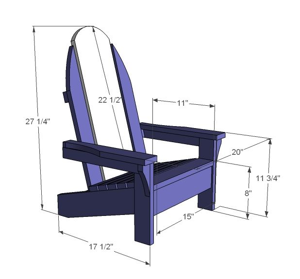 Free children 39 s adirondack chair plans woodworking for Easy chair designs