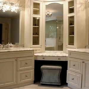 Double Bathroom Corner Vanity With Makeup Station Google Search Powder Room Luxurious