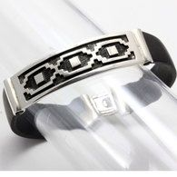 Mens Western Sterling Silver Cuff Bracelet by Caracol Silver features Native American petraglyphs found predominantly in America's West. The strong neoprene rubber looks sharp and makes this piece of jewelry durable for every man.