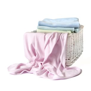 These adorable Cotton Blankets are perfect for warmer weather. Available in pink, blue or yellow.