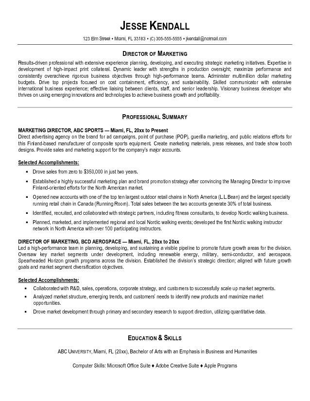 67 best Marketing Resumes images on Pinterest Marketing resume - marketing director resume sample