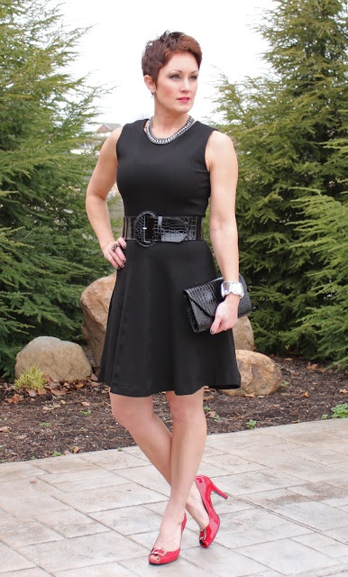 Wearing colored shoes with black dress