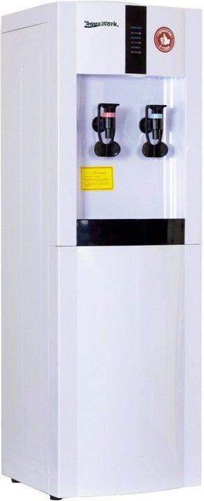 """Напольный кулер для воды с электронным охлаждением всего за 500 рублей в месяц.   Классический напольный кулер для воды с электронной системой охлаждения Aqua Work 16-LD/EN, простой аппарат """"без наворотов"""".  Нагрев - не меньше 7 литров в час до температуры 90-96 ºС (мощность 700 Вт, бак объемом 1 литр);  Охлаждение - 1 литр в час на 12-15 градусов ниже температуры окружающей среды (неплохо, если Ваше помещение оснащено хорошей системой кондиционирования воздуха);  Два эргономичных краника…"""