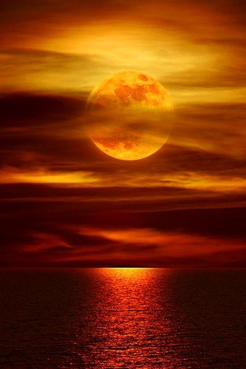 Bronze,copper,gold,orange, yellow,brown, sienna...moon over water