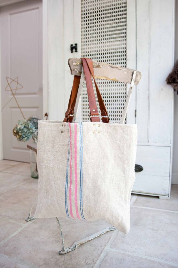 Vintage Hungarian Grain Sack Tote Bag ( bubble gum pink and blue stripe)