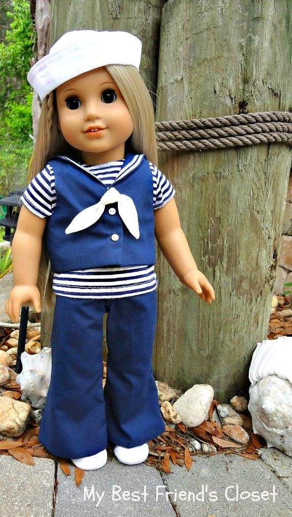 Navy & White Sailor Outfit with Hat - American Girl Doll Clothes