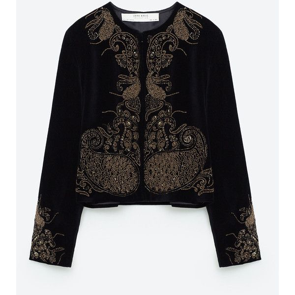 EMBROIDERED VELVET JACKET - EVENING-WOMAN | ZARA United States (440 BRL) via Polyvore featuring outerwear, jackets, embroidery jackets, embroidered jacket, evening jackets, velvet jackets e special occasion jackets