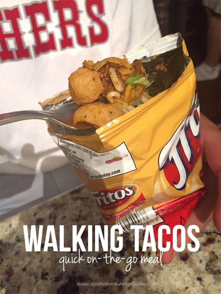 Our family is constantly eating meals on the go because of a busy sports season. You can still feed your family a home cooked meal with these Walking Tacos.