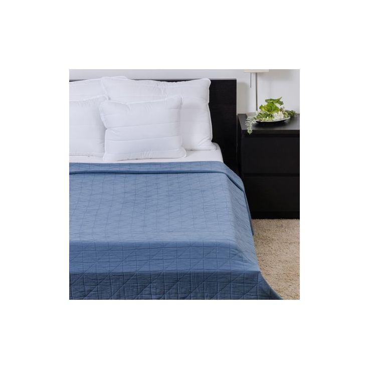 HONEY KÉK kőmosott pamut ágytakaró 160x200 cm - Díszpárna.com Webáruház