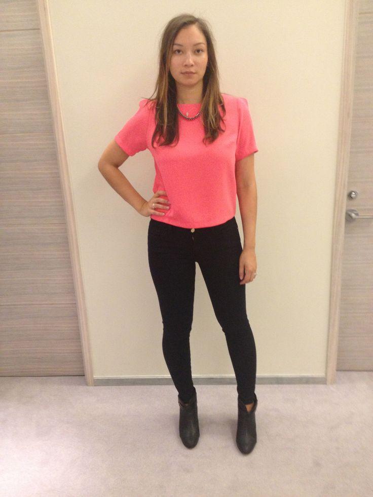 Bright shirt, love, skinny jeans, booties, top, Topshop $45