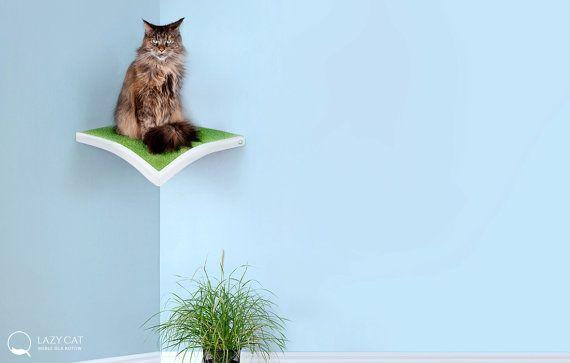 Corner Shelf Leaf  cat perch cat shelves pet by lazycatfurniture