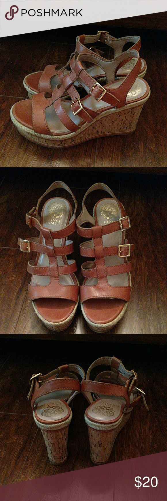 Vince Camuto Camel Wedge Shoes 6.5 Super cute double strap wedge shoes. Perfect with any outfit. Vince Camuto Shoes Wedges