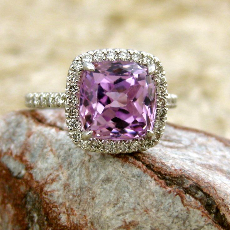 Vintage Inspired Lilac Lavender Kunzite and Diamond Engagement Ring in 14K White Gold