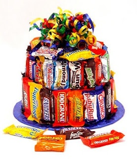 LOVE this cute idea! SO funny its being sold for $39 when its so easy to make for cheap! Candy Bar Cake