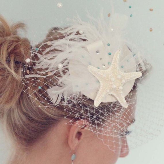 Beach Wedding Bridal White Birdcage Blusher Veil by KMDCreations, $95.99