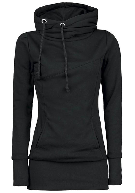 18d4084ba3d Black Plain Drawstring Pockets Cowl Neck Plus Size Hooded Pullover  Sweatshirt