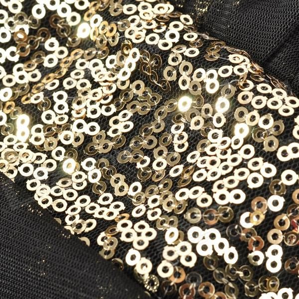 Woman's Sexy Sequin Decorated Splicing Skinny Dress - Black + Golden - Free Shipping - DealExtreme