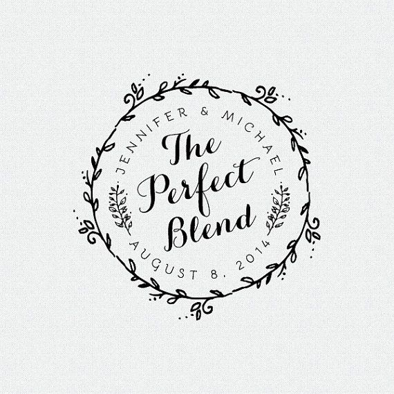 The Perfect Blend Stamp, Wedding Favors Stamp, Thank You Stamp, Self Inking Stamp, Rubber Stamp, Circle Stamp, Coffee Beans Stamp (T77)