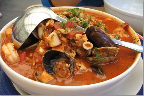 fish stew, cioppino. Clams, mussels, shrimp, scallops, and lobster ...