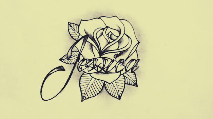 rosa tatuaje nombre jessica diseño personalizado