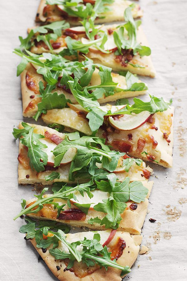 Aged Cheddar, Pancetta, Apple and Arugula Flatbread (with a great recipe for making flatbreads at home!)