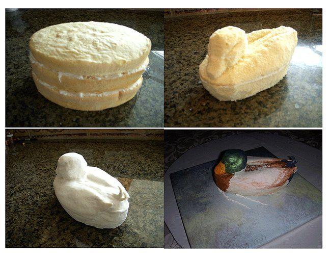 Duck cake.  Tutorial source: http://cakecentral.com/t/621399/tips-on-3d-mallard-duck-cake