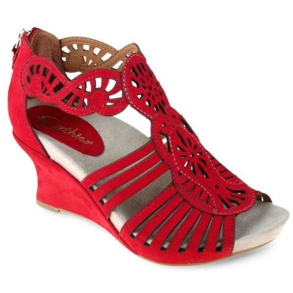 Earthies Bright Red Caradonna Wedge - Women's ($169) ❤ liked on Polyvore featuring shoes, sandals, bright red, cut out wedge sandals, red wedge shoes, wedge heel shoes, wedges shoes and wide wedge sandals
