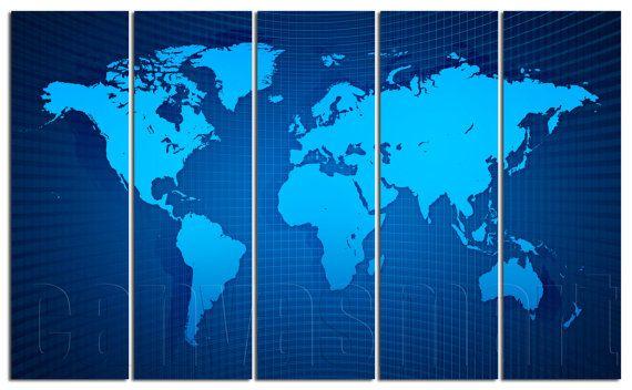 Blue Vector Map Digital World Diptych Triptych Multi Panel