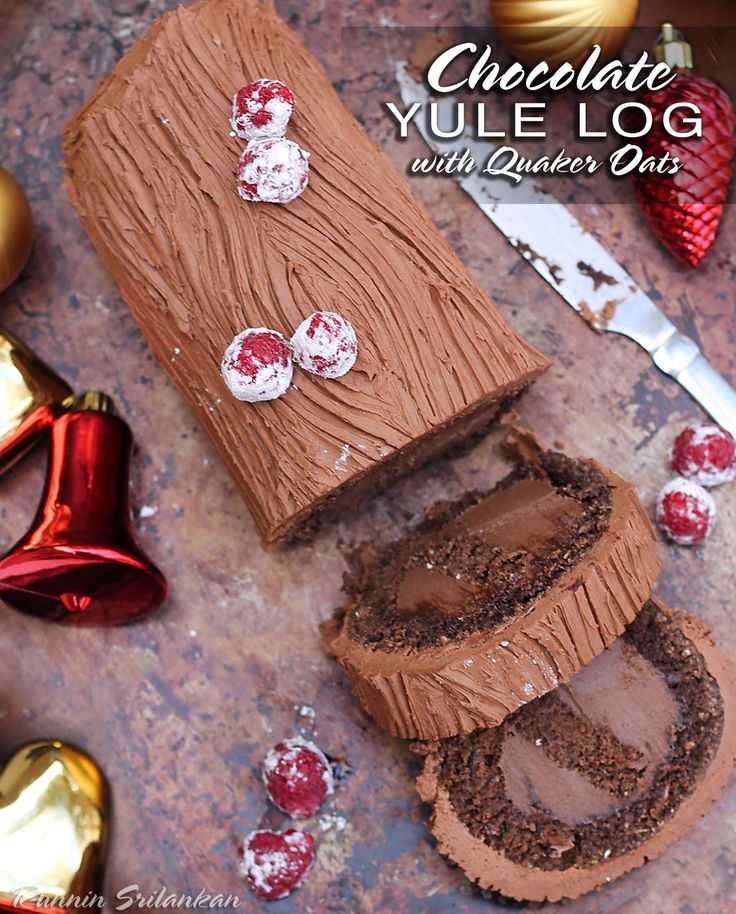 Chocolate Yule Log With Rolled Oats - A delicious Yule Log made with Whole Grain Oats and a Chocolate Cashew Cream filling that would be a delightful dessert as well as a breakfast treat or a snack!