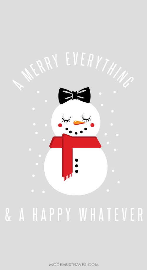 Iphone or Android Mr Snowman Illustration xmas background wallpaper selected by ModeMusthaves.com