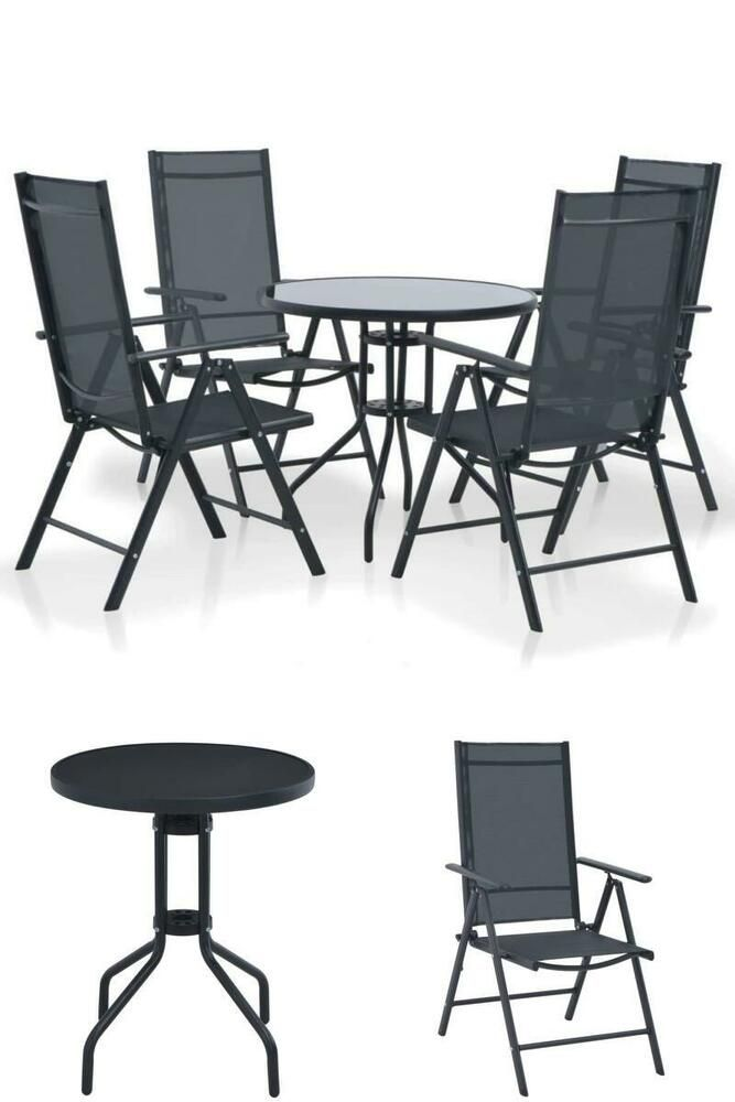 black patio set 4 seater dining table