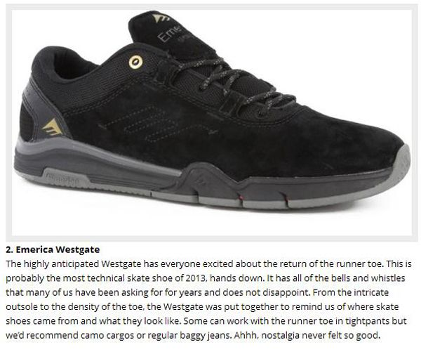 best loved b7392 9f091 ... The Emerica Brandon Westgate has been named the 2 best skateboarding  shoe of 2013