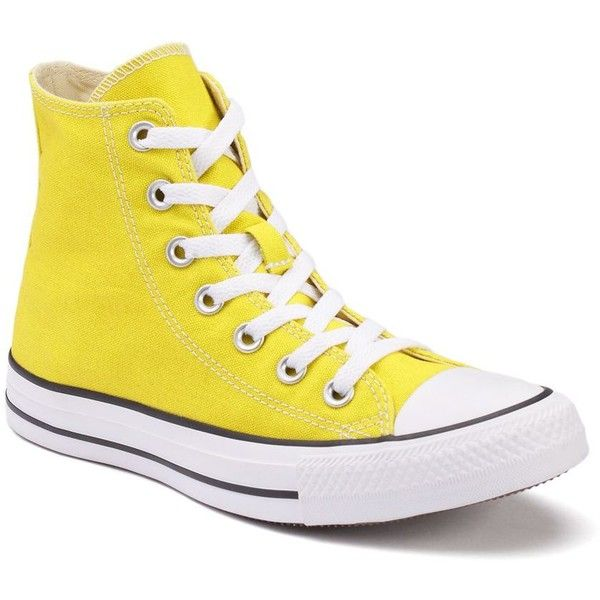 Adult Converse All Star Chuck Taylor High-Top Sneakers ($40) ❤ liked on Polyvore featuring shoes, sneakers, med yellow, yellow high tops, high-top sneakers, yellow sneakers, laced shoes and print sneakers