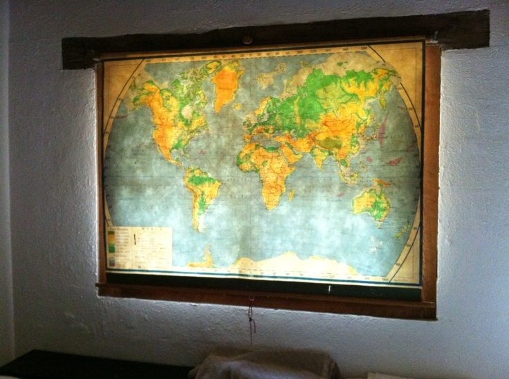 vintage school maps pull down used as a window shade