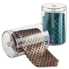 Tie Caddy, Roll-Up Necktie Organizer, Protect Mens Ties | Solutions.  This would be a neat stocking stuffer for the husband:)